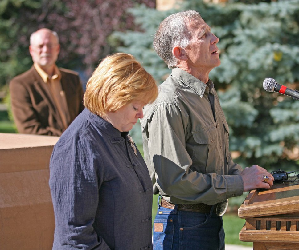 (Andy Carpenean | Laramie Boomerang | The Associated Press) Judy and Phillip Shepard, parents of the late Matthew Shepard, become emotional while speaking during the Matthew Shepard Memorial Bench dedication Saturday, Sept. 27, 2008 in Laramie, Wyo. University of Wyoming president Tom Buchanan stands in the background. Matthew Shepard was killed as part of an anti-gay hate crime 10 years ago this October.