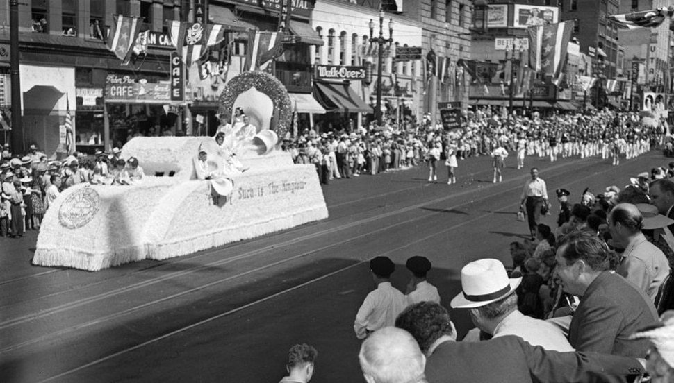 (Photo courtesy of Utah State History) Wendell Willkie, at right — an attorney and then the Republican nominee for president — watches the floats in the 1940 Pioneer Day parade on Salt Lake City's Main Street. It was one of the biggest editions of the annual parade before World War II.
