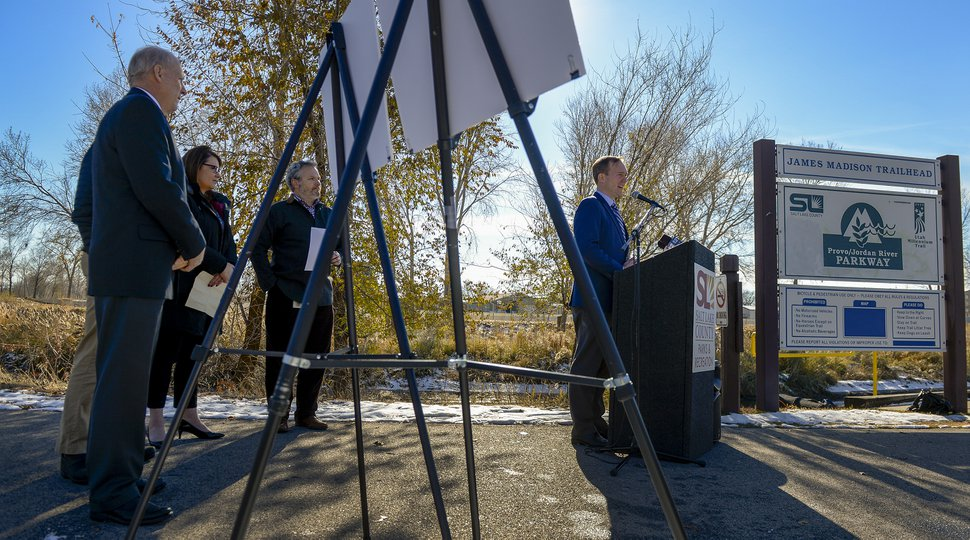 Leah Hogsten | The Salt Lake Tribune Salt Lake County Mayor Ben McAdams gives details about the proposed nature center and master plan Monday, Nov. 26, 2018. The Jordan River Park will be expanding to prioritize preservation of natural habitat, more recreation opportunities and better accessibility under the newly proposed Tracy Aviary's Jordan River Nature Center.