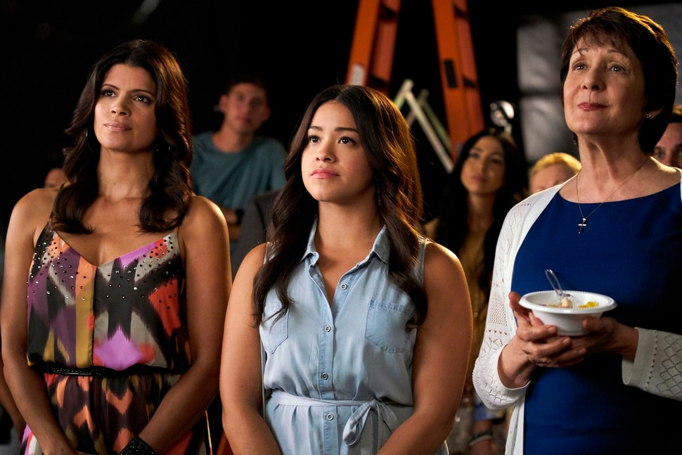 "(Photo courtesy Tyler Golden/The CW) Andrea Navedo as Xiomara, Gina Rodriguez as Jane and Ivonne Coll as Alba in ""Jane the Virgin."""