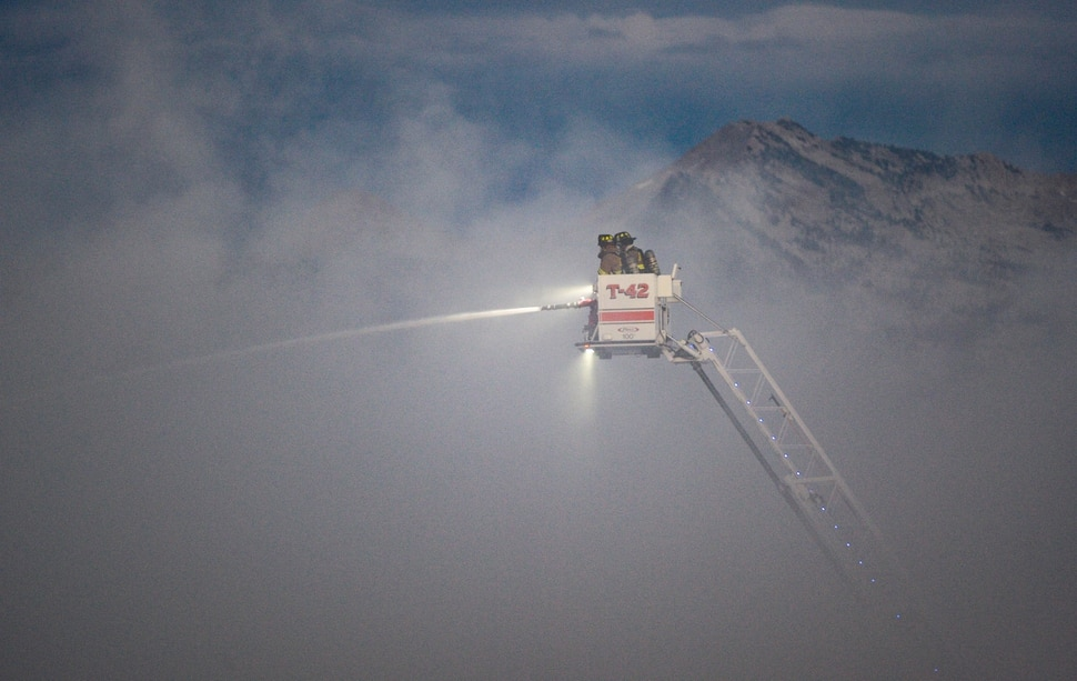 (Francisco Kjolseth | The Salt Lake Tribune) Fire crews respond to a fire at Rocky Mountain Recycling South Salt Lake on Saturday, July 11, 2020.