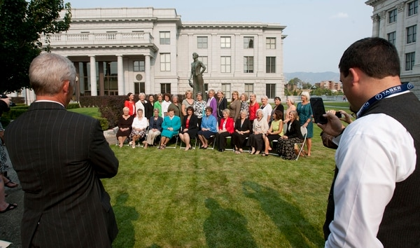 Steve Griffin | Tribune file photo Current and former women Utah legislators pose for a photograph with the Martha Hughes Cannon statue outside the state Capitol in Salt Lake City, Wednesday August 15, 2012. The women gathered at the Capitol for a screening of the KUED documentary on Cannon, the first women state senator in the United States. In the photo are (front row) Peggy Wallace, Beverly White, Karen Shepherd, Olene Walker, Becky Lockhart, Margaret Dayton, Chris Fox Finlinson, Carol Spackman Moss, Paula Julander, Alicia Suazo and Karen Morgan. (Back row) Nancy Lyon, Carlene Walker, Patrice Arent, Lou Shurtliff, Trisha Beck, Rhonda Menlove, Sheryl Allen, Merlynn Newbold, Becky Edwards, Marie Poulson, Jennifer Seelig, Jackie Biskupski, Christine Watkins, Karen Mayne, Rebecca Chavez Houck, Darlene Gubler and Pat Jones.