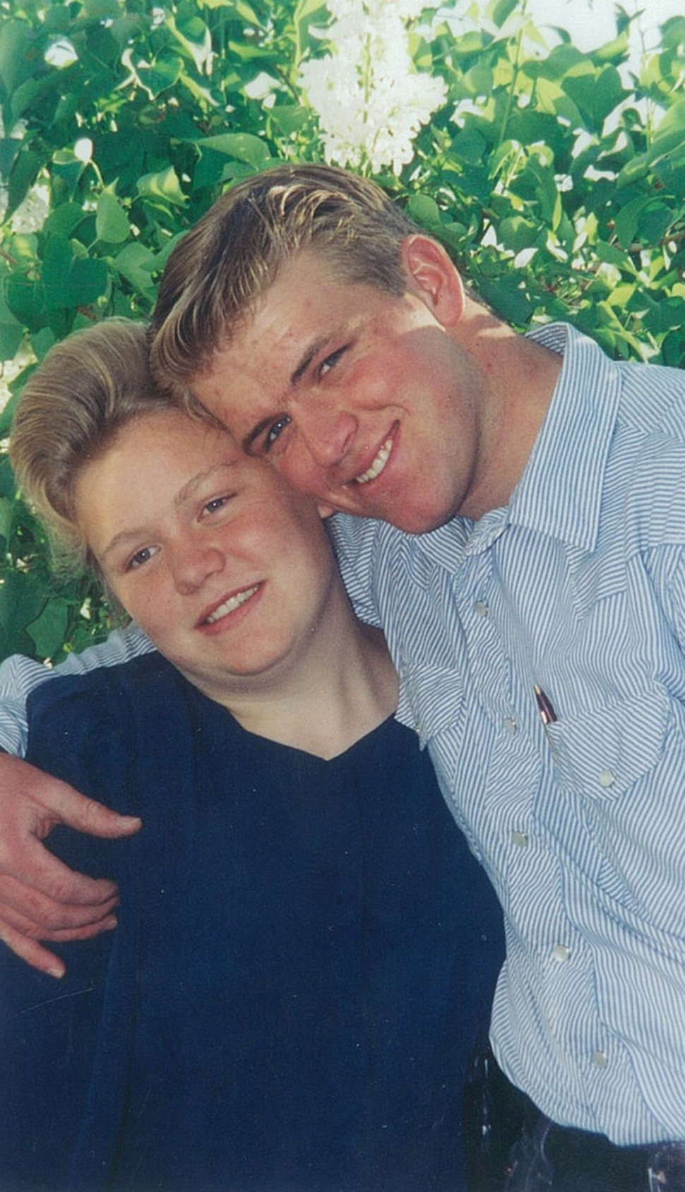 Elissa Wall, then 14, and Allen Steed, then 19, the day after they were married by polygamous sect leader Warren S. Jeffs. This photo was used as evidence in Jeffs' rape as an accomplice trial. Elissa Wall
