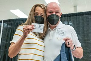 (Leah Hogsten | The Salt Lake Tribune) First lady Abby Cox and Gov. Spencer Cox receive their first COVID-19 vaccine from Utah County Health Department in Spanish Fork, March 25, 2021.