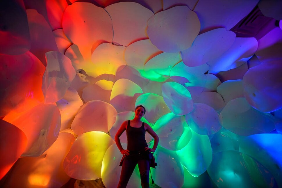 (Trent Nelson | The Salt Lake Tribune) Rio Wimmer in the cloud room at dreamscapes in Salt Lake City on Tuesday March 12, 2019. Dreamscapes is a project of the Utah Arts Alliance. It runs for one month from March 15 through April 15.