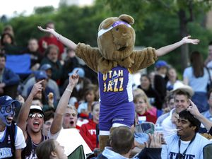 (Rick Egan | The Salt Lake Tribune) Mallory Lambert wears a bear costume as she celebrates with the fans on the plaza in front of the Energy Solutions Arena, for game four of the Western Conference Finals, in Salt Lake City, on May 28, 2007.
