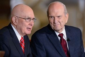 (Trent Nelson | The Salt Lake Tribune)  Russell M. Nelson looks on as Dallin H. Oaks addresses members of the media at a news conference in the lobby of the Church Office Building in Salt Lake City, Tuesday, Jan.16, 2018. Nelson was named the 17th president of the nearly 16 million-member Church of Jesus Christ of Latter-day Saints.