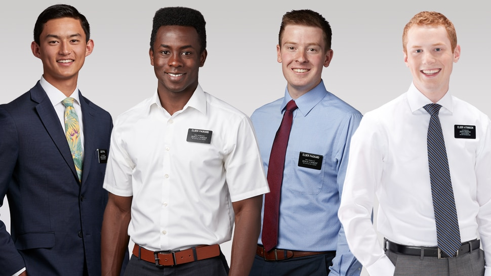 (Photo courtesy of The Church of Jesus Christ of Latter-day Saints) Under updated guidelines, the standard missionary attire is reemphasized, which includes a white shirt and tie and, in some areas, a suit coat. Additionally, in approved teaching areas, young men (commonly known as elders) may be able to wear a white or plain blue dress shirt with or without a tie. These exceptions will be determined by Area Presidencies.