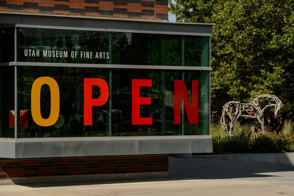 (Trent Nelson | The Salt Lake Tribune) Utah Museum of Fine Arts in Salt Lake City is open for the first time in five months, with new COVID-19 restrictions in place, on Wednesday, Aug. 26, 2020. At right is Deborah Butterfield's 2003 bronze, Rex.