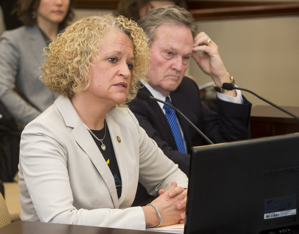 (Rick Egan | The Salt Lake Tribune) Salt Lake City Mayor Jackie Biskupski makes a comment on SB234, the inland port bill in the Economic Development committee meeting, Friday, March 2, 2018.