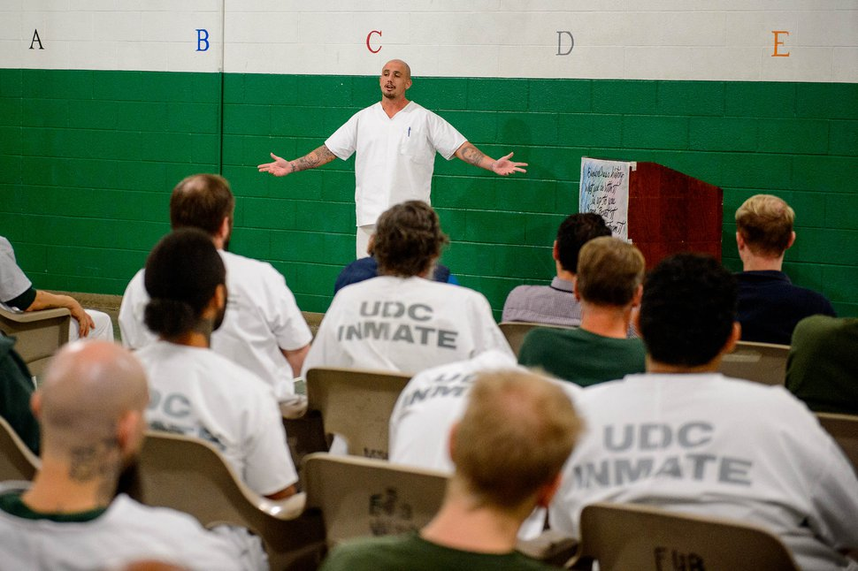 (Trent Nelson | The Salt Lake Tribune) Gage King, an inmate at the Utah State Prison, delivers a speech at a meeting of the New Visions Speech Club in the prison's Promontory facility in Draper on Tuesday, Dec. 3, 2019.