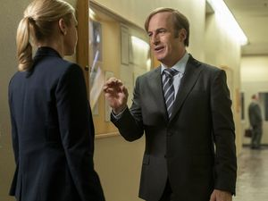 "(Photo courtesy of Warrick Page/AMC/Sony Pictures Television)  Rhea Seehorn as Kim Wexler and Bob Odenkirk as Jimmy McGill in ""Better Call Saul."""