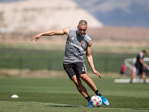 (Photo courtesy of Real Salt Lake) Bobby Wood kicks a ball during a recent training session. Wood recently arrived in Salt Lake City and says he already feels acclimated to his new coaches and teammates.