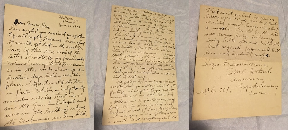 (photo courtesy Susan Leiber) A letter from Sgt. Lawrence E. Leea to his french sweetheart, Germaine.