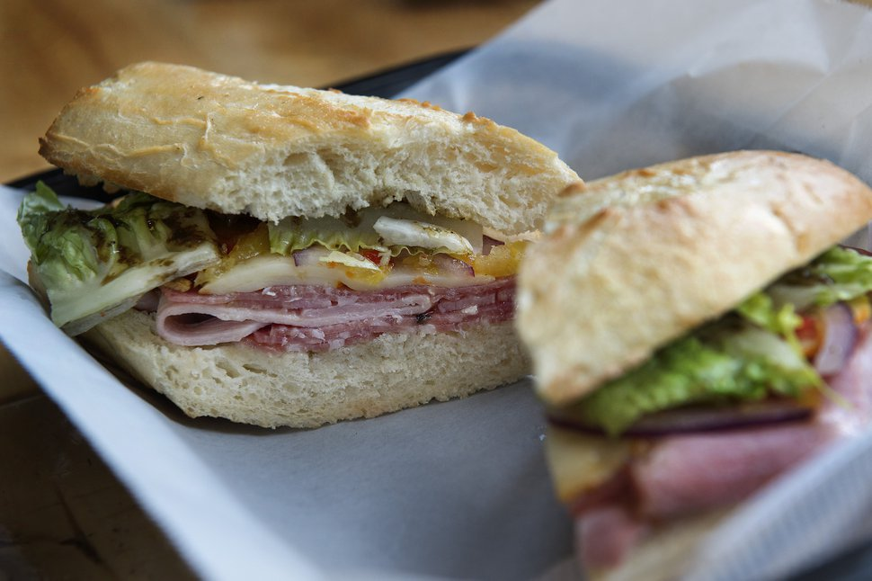 (Scott Sommerdorf | The Salt Lake Tribune) The Hot Italian Sandwich at The Back Door Deli in Park City.