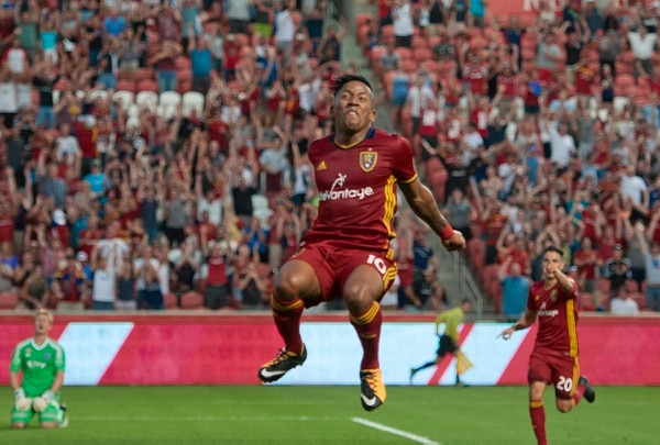Michael Mangum | Special to the Tribune Real Salt Lake forward Joao Plata (10) leaps in celebration of his first-half assist to Luis Silva (20), rear, during their match against Sporting Kansas City at Rio Tinto Stadium in Sandy, UT on Saturday, July 22, 2017.