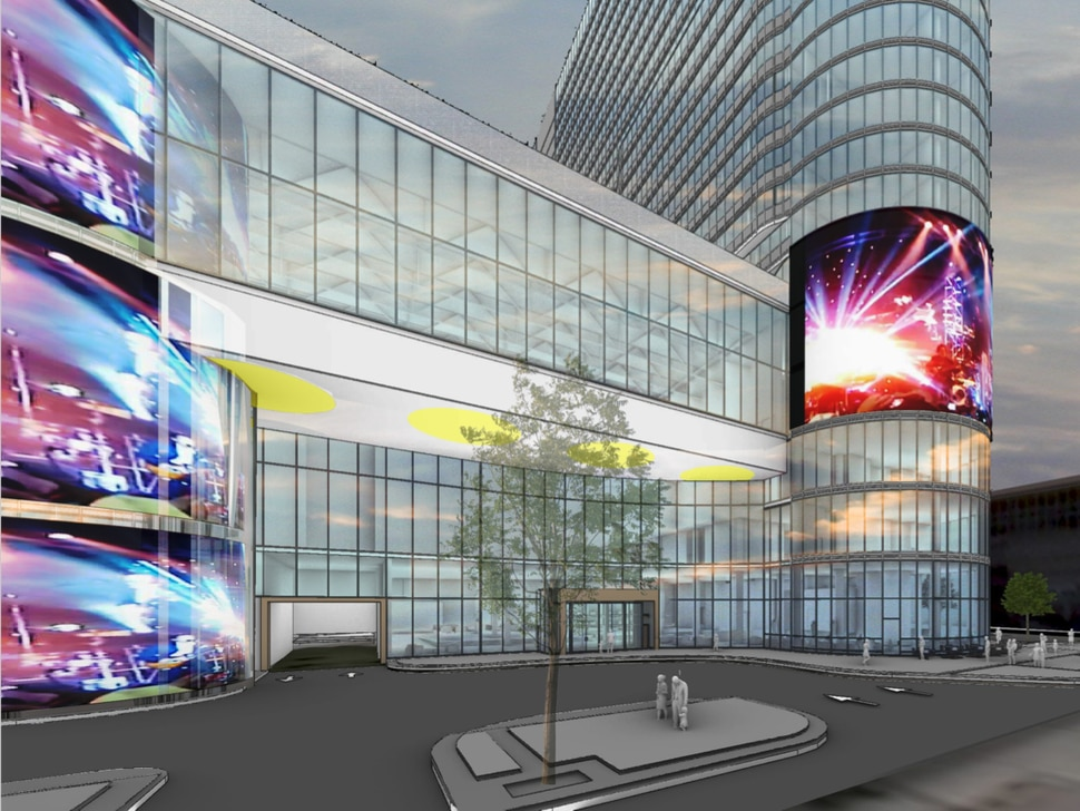 (Photo courtesy of John Portman & Associates, via Salt Lake City) An initial rendition released in 2019 of the street view of the new Hyatt Regency Salt Lake City convention center hotel, to be built at the northwest corner of 200 South and West Temple, adjacent to the Salt Palace Convention Center. In this rendering, the hotel features two digital screen arrays projecting images toward 200 South that are not part of subsequent drawings of the hotel.