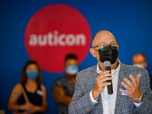 (Trent Nelson  |  The Salt Lake Tribune) David Aspinall speaks at the opening of Auticon's Salt Lake City office Thursday, Aug. 26, 2021. The company helps people with autism find technology-based jobs.