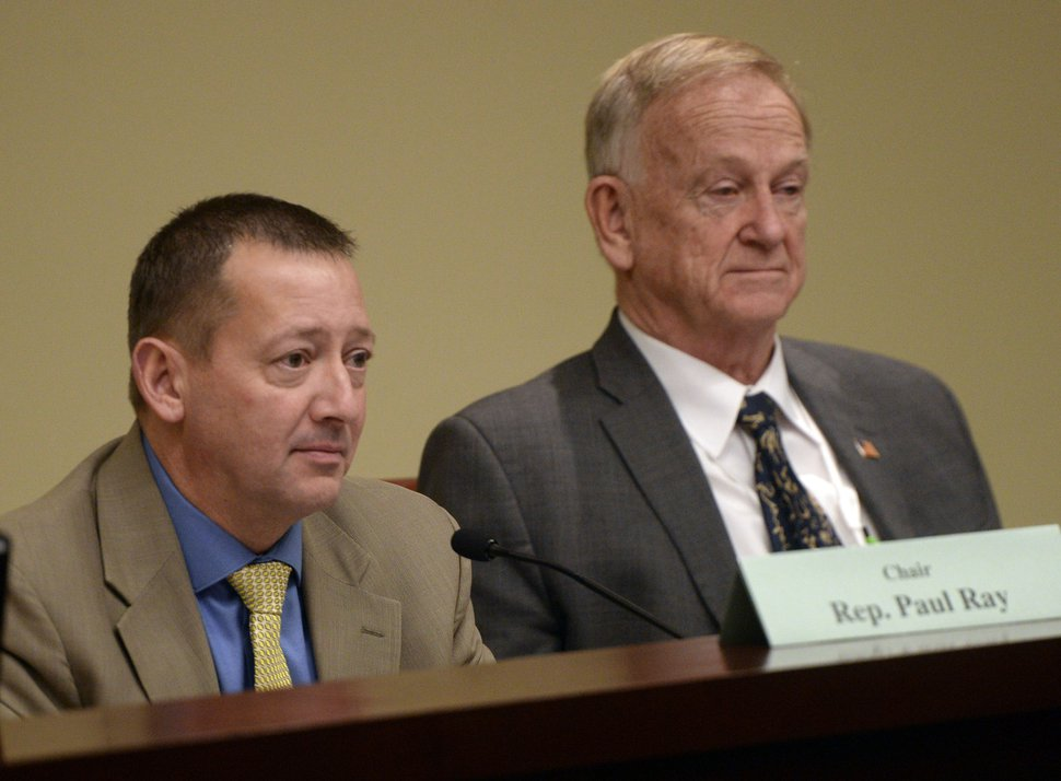 Al Hartmann | The Salt Lake Tribune Chair Rep. Paul Ray, R-Clearfield, left and Sen. Allen M. Christensen, R-Ogden listen to testimony during the Medicaid expansion and reform discussions at the Social Services Appropriations Subcommittee Monday Feb. 8.