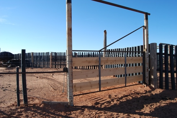 (Brian Maffly | The Salt Lake Tribune) In April 20017, this corral west of Bluff in Bears Ears National Monument was the scene of a confrontation between ranchers and environmental activist Rose Chilcoat and her husband Mark Franklin. San Juan County prosecutors allege the couple tried to deprive the cattle access to water by closing the gate pictured here. Chilcoat and Franklin say the felony charges are absurd, filed as payback for Chilcoat's watchdog activism on San Juan's public lands.