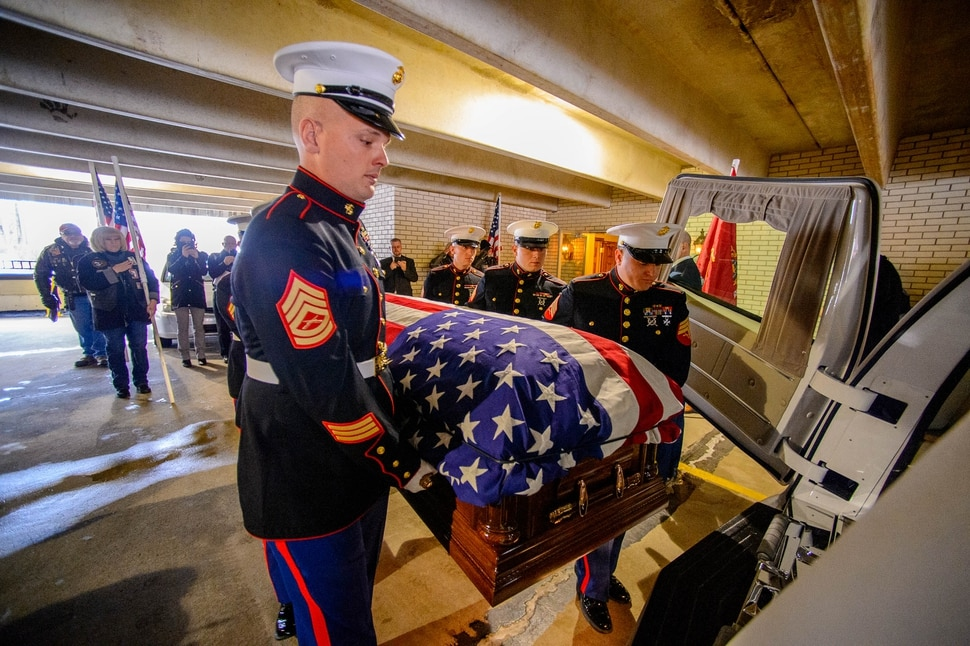 (Trent Nelson | The Salt Lake Tribune) Marines carry the remains of Marine Pfc. Robert J. Hatch on Saturday, Dec. 14, 2019. Hatch was killed in action Nov. 22, 1943 on the island of Betio.