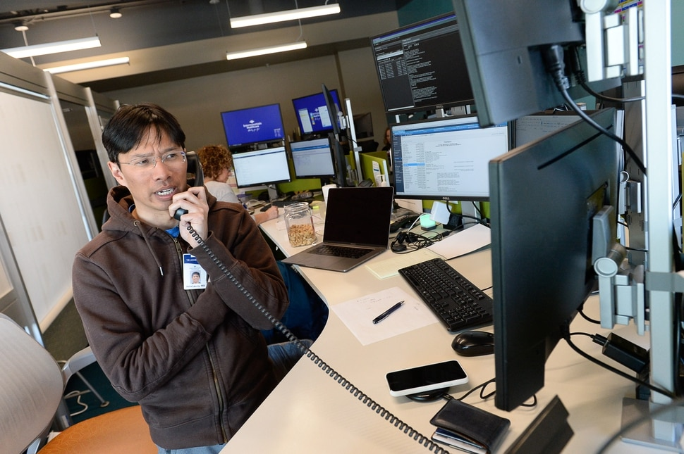 (Francisco Kjolseth | The Salt Lake Tribune) Critical Care Specialist Dr. Felix Leung provides medical guidance for a patient from the Telecritical Care Center in Middle. Intermountain Healthcare announced the launch of one of the nation's largest virtual hospital services. It will involve 500 caregivers, offering telehealth services on everything from basic care to stroke evaluation and newborn critical care. The Virtual Hospital Services Testing Laboratory showcased several medical services on Wednesday, Feb. 28, 2018, in Midvale.
