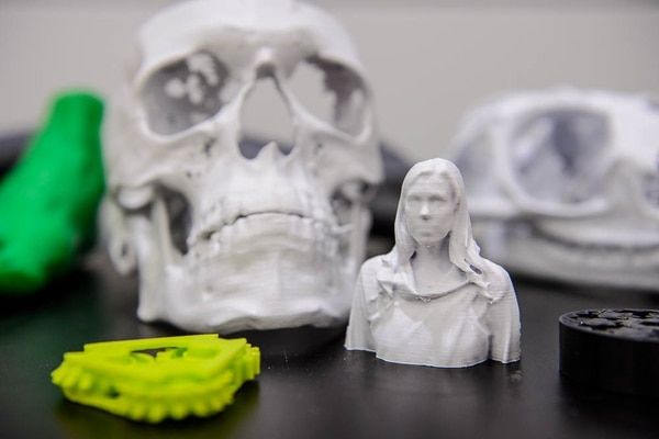 (Trent Nelson | The Salt Lake Tribune) Items made by 3D printers in the J. Willard Marriott Library in Salt Lake City, Friday Aug. 3, 2018.