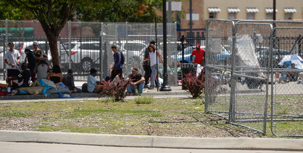 Francisco Kjolseth | The Salt Lake Tribune A chain link fence has been erected in the Rio Grande area on the north end of 500 West near the homeless shelter to keep people from camping in the median on Friday, July 28, 2017. It is unclear if more fencing will be added.