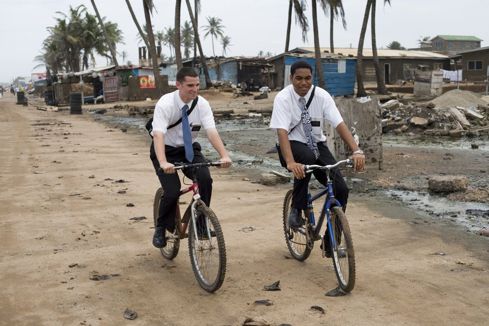 (Photo courtesy of The Church of Jesus Christ of Latter-day Saints) Latter-day Saint missionaries in Ghana.
