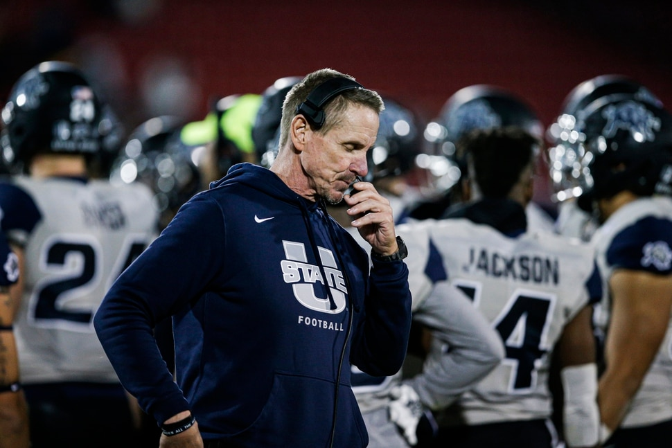 Utah State coach Gary Anderson during the first half of the team's Frisco Bowl NCAA college football game against Kent State on Friday, Dec. 20, 2019, in Frisco, Texas. Kent State won 51-41. (AP Photo/Brandon Wade)