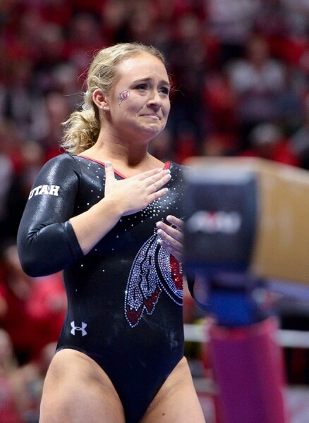 (Leah Hogsten | The Salt Lake Tribune) Outgoing senior Maddy Stover thanks the fans after her beam routine as the No. 4 Utah gymnasts host No. 20 Georgia in the final regular season meet at Jon M Huntsman Center in Salt Lake City Friday, March 16, 2018.
