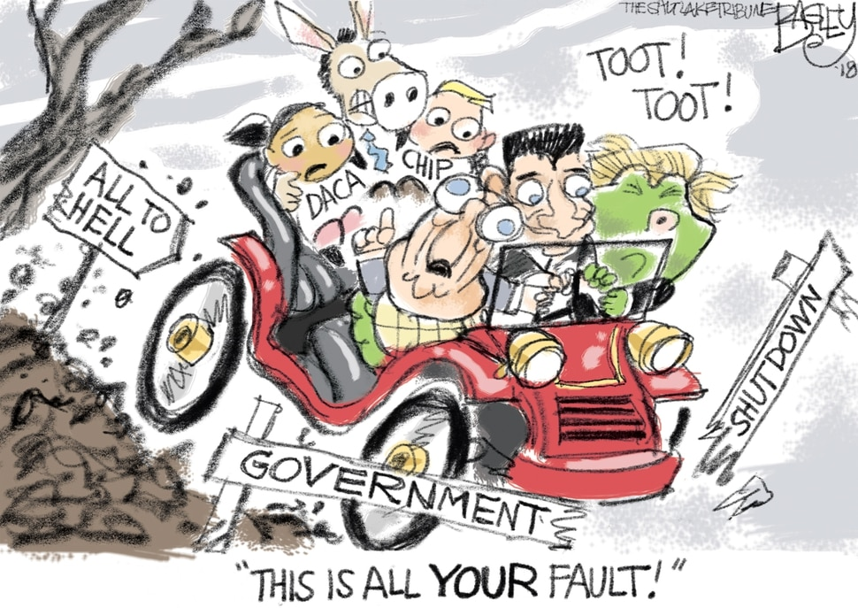 This Pat Bagley cartoon appears in The Salt Lake Tribune on Friday, Jan. 19, 2018.