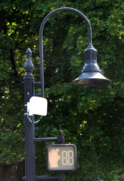 (Rick Egan | The Salt Lake Tribune) The white box on the left is one of ten traffic signal detectors, Salt Lake City has installed, that uses a radar device that is triggered by people riding bicycles. Wednesday, Aug. 1, 2018.