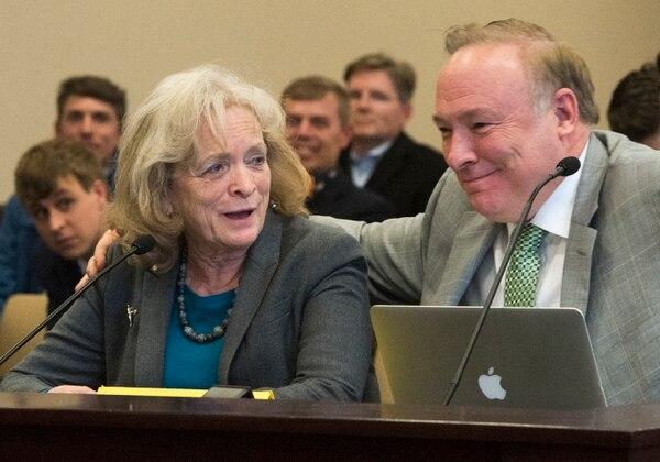 (Rick Egan | The Salt Lake Tribune) Gayle Ruzicka, Utah Eagle Forum, jokes as she speaks in support of Sen. Jim Dabakis bill, SJR16 during a Senate Education Committee meeting at the Capitol, Friday, March 2, 2018.