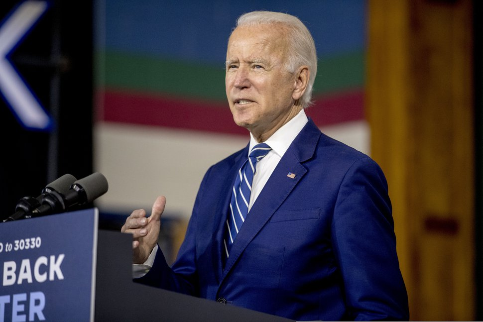 (AP Photo | Andrew Harnik)President-elect Joe Biden speaks at a campaign event at the Colonial Early Education Program at the Colwyck Training Center, Tuesday, July 21, 2020 in New Castle, Del.