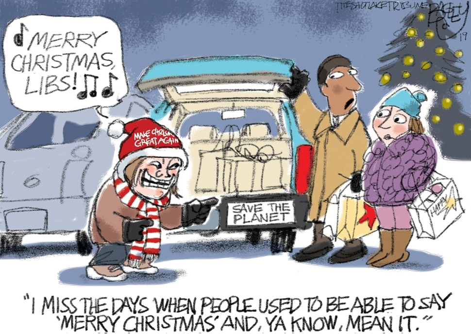 (Pat Bagley | The Salt Lake Tribune) This cartoon, titled Trolling for Christmas, appears in The Salt Lake Tribune on Thursday, Dec. 19, 2019.