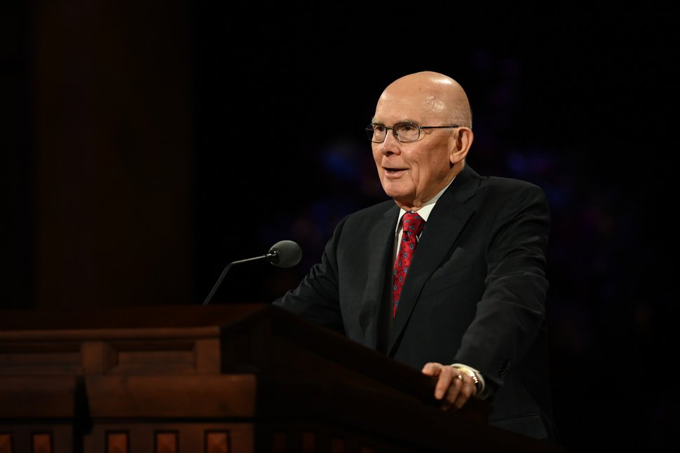 (Photo courtesy of The Church of Jesus Christ of Latter-day Saints) President Dallin H. Oaks, first counselor in the First Presidency, speaks during the Saturday morning session of the 190th Semiannual General Conference of The Church of Jesus Christ of Latter-day Saints on Oct. 3, 2020.