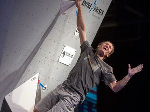 (Leah Hogsten     The Salt Lake Tribune) Salt Lake City native Nathaniel Coleman won the USA Climbing: Bouldering Open National Championships for the third consecutive time at the Salt Palace Convention Center, Saturday, February 3, 2018 in Salt Lake City. Coleman, who has qualified for the Olympics, will compete in three 2021 World Cup events — two in bouldering and one in speed — at SLC Industry over the next two weeks.