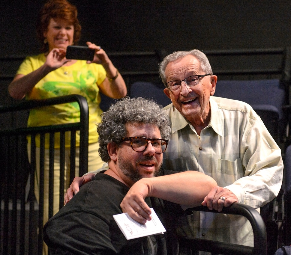 (Steve Griffin | The Salt Lake Tribune) Playwright Neil LaBute, left, and his former BYU teacher, Chuck Metten, talk prior to the last preview rehearsal of a world-premiere of LaBute's play How to Fight Loneliness at the USF Anes Theater on the SUU campus in Cedar City on Thursday Aug. 24, 2017.
