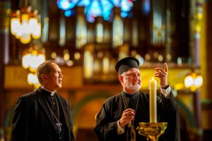 (Trent Nelson  |  The Salt Lake Tribune) Bishop Oscar A. Solis of the Catholic Diocese of Salt Lake City and Greek Orthodox Archbishop Elpidophoros of America tour the Cathedral of the Madeleine in Salt Lake City on Tuesday, July 20, 2021.