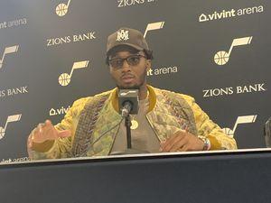 (Eric Walden     The Salt Lake Tribune) Utah Jazz guard Donovan Mitchell's postgame eyewear led to the revelation that he foregoes wearing needed contact lenses during games.