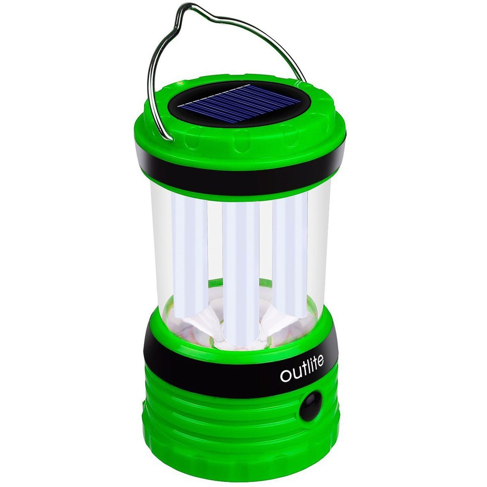 The Outlite 240 Lumen Solar Rechargeable LED Camping Lantern Flashlight lasts from sundown until bedtime and then some. You can also pull it out of your camping gear if there's a power outage at home. Image courtesy Outlite via Amazon.
