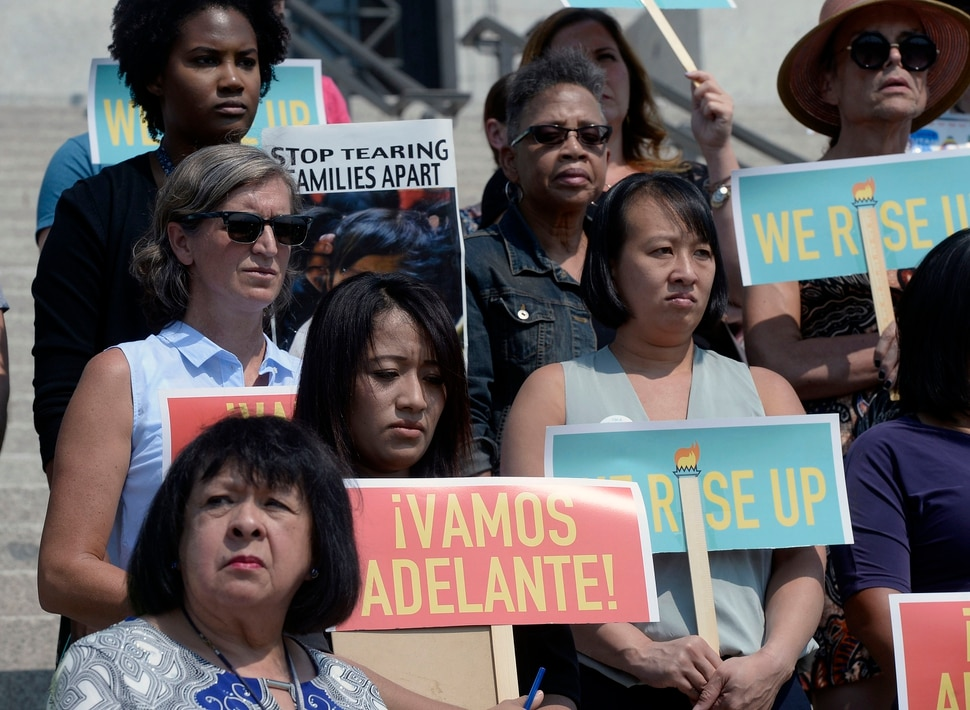 (Al Hartmann | The Salt Lake Tribune) A diverse group gathers on the steps of the Utah Capitol on Tuesday, Sept. 5, 2017, with Comunidades Unidas (Communities United), an organization that says that the Trump adminstration's plans to end the DACA program is bad for Utah's families and economy. Individuals, including 'Dreamers, spoke out for Congress to come up with alternative legislation.