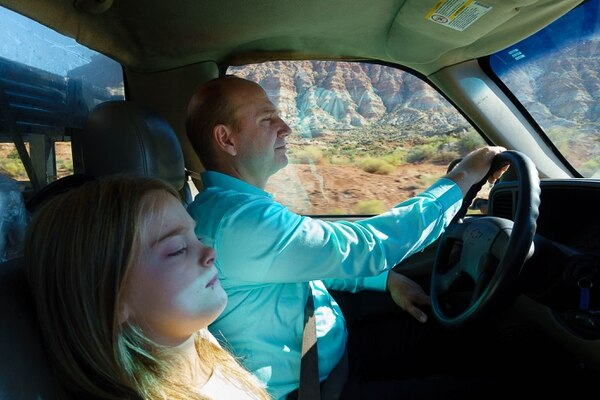 Trent Nelson   The Salt Lake Tribune Gabriel Owen and his daughter Kathrynn on their way to deliver three tons of potatoes to members of the FLDS polygamous sect in Colorado City, Saturday July 15, 2017. Owen and the Davis County Cooperative Society have been offering service and donations to needy FLDS members who were evicted from UEP homes in Hildale and Colorado City, Ariz.