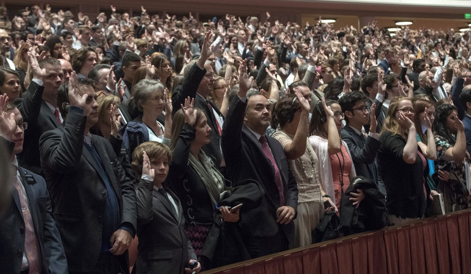 (Rick Egan | The Salt Lake Tribune) Everyone in attendance stand to sustain President Russell M. Nelson and the first presidency of the church, during a Solemn Assembly in the Saturday morning session of the 188th Annual General Conference in Salt Lake City, Saturday, March 31, 2018.