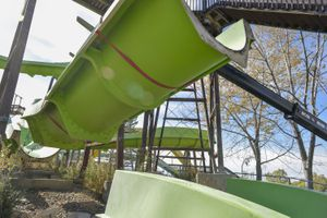 (Chris Samuels | The Salt Lake Tribune) Contractors begin the work of disassembling Raging Waters water park in Salt Lake City, Wednesday, Oct. 20, 2021. The park has been closed since 2018, and the city plans to renovate the area into a public asset.