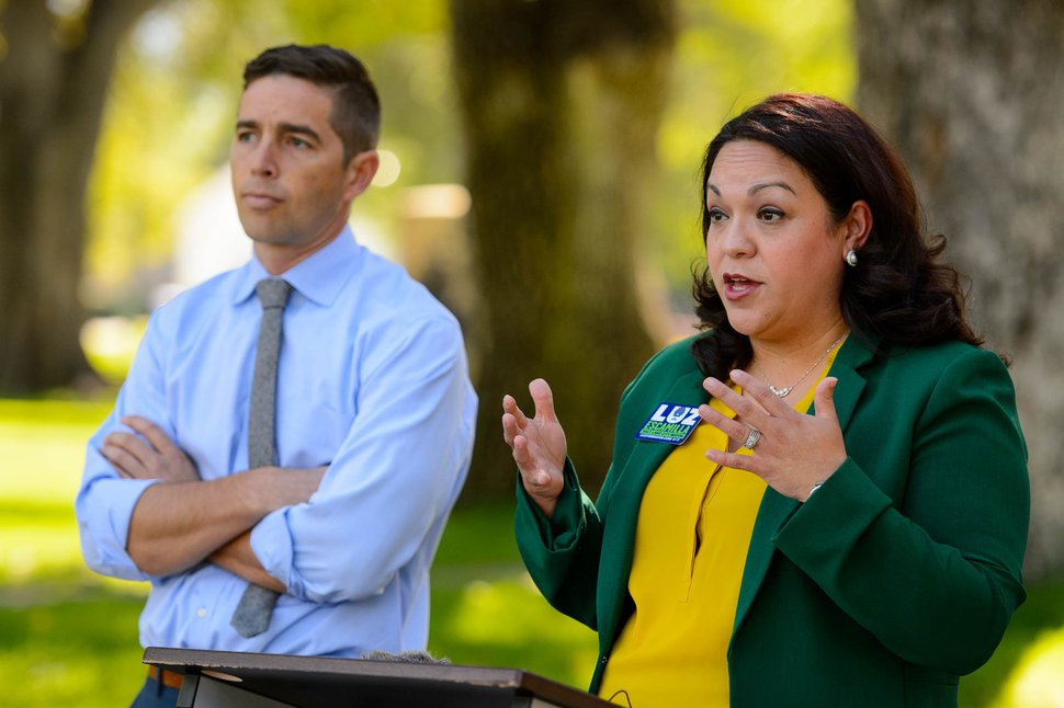 (Trent Nelson | The Salt Lake Tribune) Luz Escamilla unveils her environmental policy proposals at a news conference in Salt Lake City on Tuesday Sept. 24, 2019. At left is David Garbett, an environmental advocate and former candidate during the mayoral primary, who announced his endorsement of Escamilla.