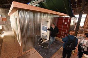(Francisco Kjolseth  |  The Salt Lake Tribune)  Our Homes, Our Voices, a campaign to bring more attention to the affordable housing crisis across the country showcases one of the solutions being presented by small house specialist Jeff White in Sat Lake City on Wed. May 2, 2018. White has been investing his time now for several years on shipping container prototypes, including a 432 square foot experimental home he built inside a warehouse in Salt Lake that would cost about $36,000 and be easy to assemble on a lot.