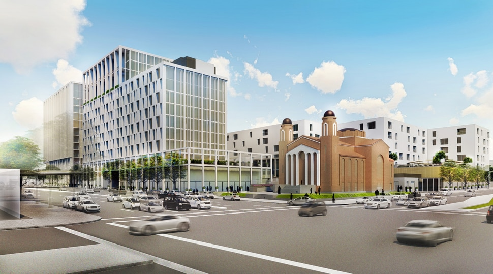(Renderings courtesy of Greek Orthodox Church of Greater Salt Lake) Members of Utah's Greek community are readying plans for an ambitious development around Holy Trinity Cathedral at 279 S 300 West in downtown Salt Lake City. A view of the proposed project looking northwest from Pioneer Park.