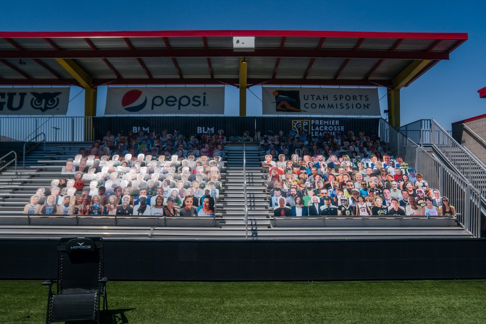 (Photo courtesy of Premier Lacrosse League) Cardboard cutouts of fans fill sections of Zions Bank Stadium during a game for the Premier Lacrosse League Championship Series.